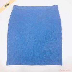[St. John] Light Blue/White Knit Pencil Skirt